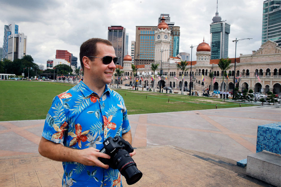 Malaysia. Kuala Lumpur. November 22, 2015. Prime Minister Dmitry Medvedev at the Palace of the Sultan Abdul Samad building at Independence square.