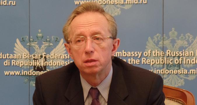 Duta Besar Federasi Rusia untuk Indonesia Mikhail Galuzin dalam sesi jumpa pers di Jakarta, Kamis (25/1).