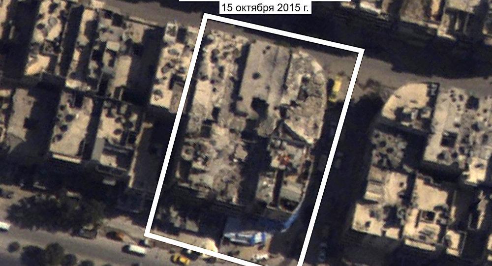 Foto rumah sakit al-Quds pada 15 Oktober 2015 yang diperbesar. Sumber: Kementerian Pertahanan Rusia