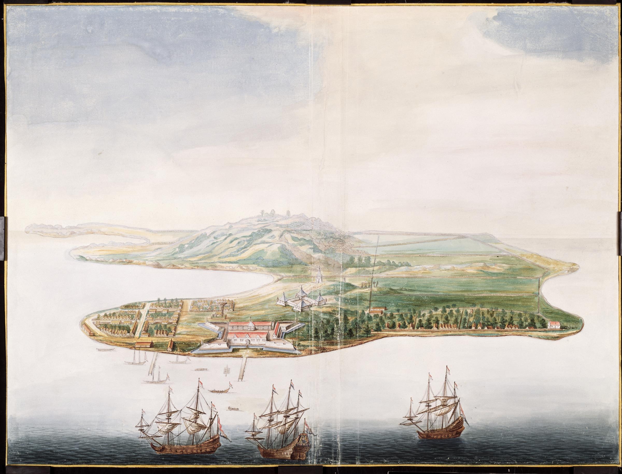 Ilustrasi Pulau Bandanaira, pulau utama di gugusan Kepulauan Banda pada abad ke-17. Terlihat desa Naira dan benteng Nassau milik Belanda di pesisir pulau, serta benteng Belgica di belakangnya. Pala adalah komoditas utama dari Kepulauan Banda dan diperebutkan oleh pedagang-pedagang Inggris dan Belanda.