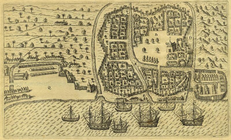 Ilustrasi kota Banten di awal abad ke-17. Sophony bertugas di pos dagang EIC Banten selama kurang lebih tahun empat tahun, pada 1609 – 1613, sebelum akhirnya dipindah tugaskan ke Sukadana, Kalimantan Barat, pada awal 1614. Sumber: Wikipedia
