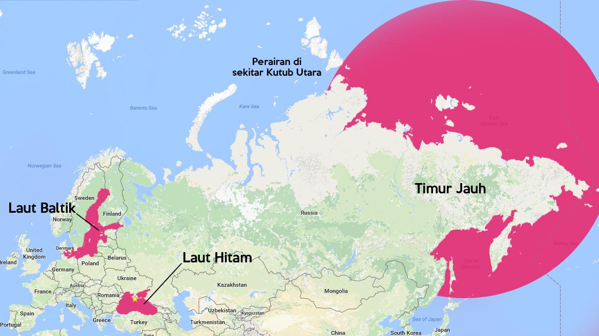 Uni Soviet hanya punya dua jalur masuk ke samudra. Namun, baik Kutub Utara maupun Timur Jauh tak memungkinkan bagi penyusunan infrastruktur marinir skala penuh.