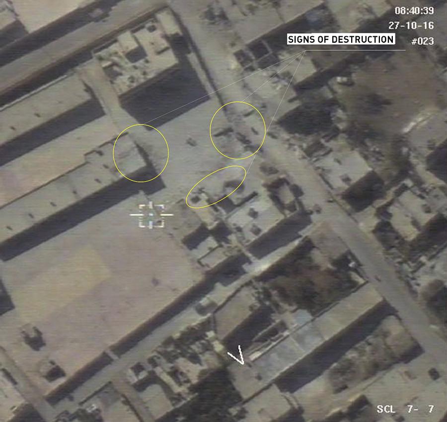 Berdasarkan gambar yang diperoleh, drone tidak melihat adanya bukti serangan udara. Sumber: Kementerian Pertahanan Rusia