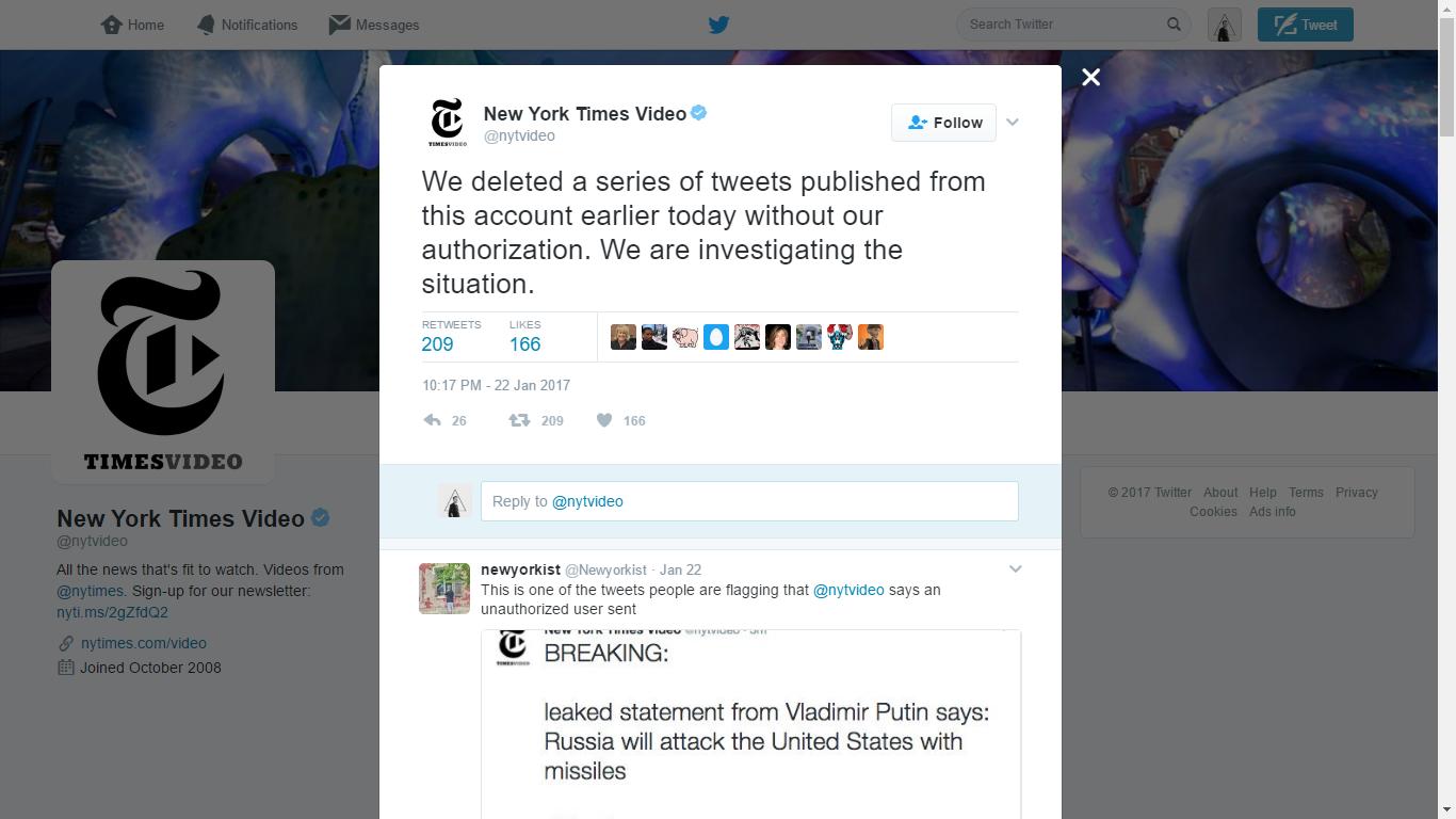 The New York Times mengonfirmasi bahwa mereka telah menghapus sejumlah tweet yang dipublikasikan melalui akun @nytvideo tanpa otorisasi.