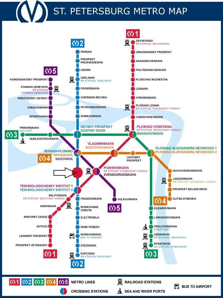 Peta terjadinya ledakan gerbong metro antara stasiun Sennaya Ploschad dan Tekhnologichesky Institut-1 di pusat kota Sankt Peterburg.