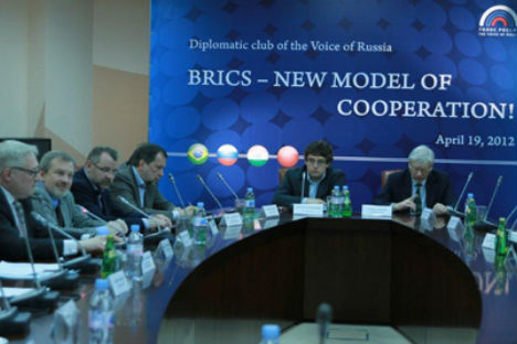 BRICS – a new model of cooperation – was the major theme of the discussion. Source: The Voice of Russia