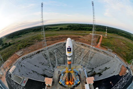 Soyuz rocket from the European spaceport in South America, carrying two Galileo navigation satellites in its maiden flight. Source: AP