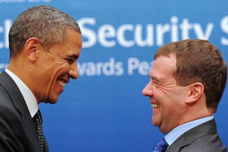 The good relationship between Presidents Barack Obama and Dmitry Medvedev hasn't been enough to get the U.S. to lift controversial trade restrictions. Source: AFP / East News