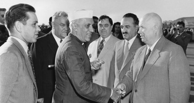 Prime Minister of India, Jawaharlal Nehru shakes hands with Soviet Premier Nikita Khrushchev during his first official visit to Soviet Union in 1955