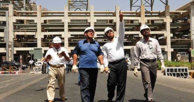 Tatarstan's President Rustam Minnikhanov (first from the left) during his visit to RIL refinery in Jamnagar, Gujarat. Press Photo