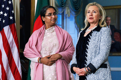 U.S. Secretary of State Hillary Clinton with Bangladesh foreign minister Dipu Moni. Source: AP
