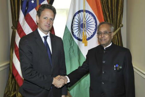 Finance Minister Pranab Mukherjee with US Secretary of the Treasury Tim Geithner in Washington, DC on April 19, 2012. Source:US Department of Treasury