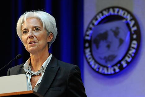 IMF Managing Director Christine Lagarde delivers remarks at a Banque de France panel on financial stability review during the semi-annual meetings of the IMF and the World Bank in Washington, April 21, 2012 Source: Reuters