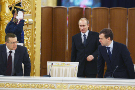 The famous tandem of Vladimir Putin and Dmitry Medvedev gears up for another innings at the top. Source: Kommersant