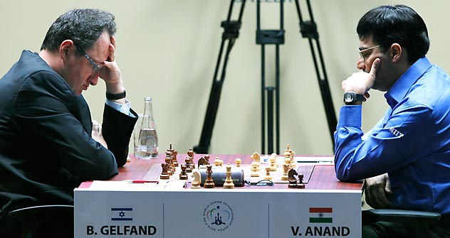 Gelfand and Anand are battling for $2.5 million in prize money in the competition hosted at the Tretyakov Gallery. Source: AP