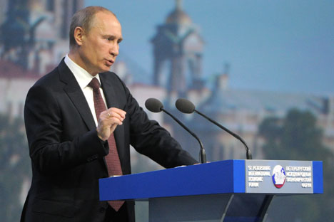Russian President Vladimir Putin speaking at the 2012 St Petersburg International Economic Forum. Source: ITAR-TASS