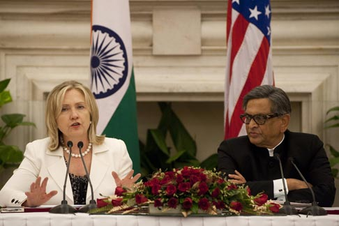 Hillary Clinton and S.M. Krishna. Source: AFP