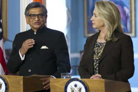 US Secretary of State Hillary Clinton with Foreign Minister S M Krishna Source: AP