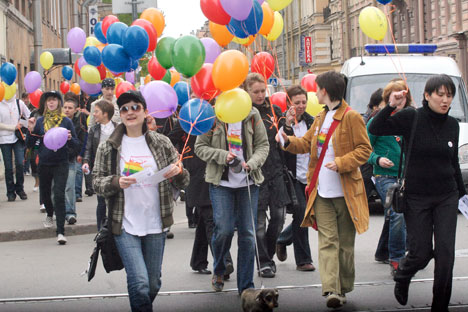 Russia's gay activists taking to the streets to defend their rights. Source: ITAR-TASS