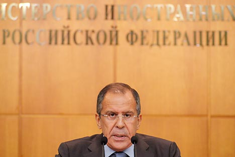 Russia's Foreign Ministry Sergei Lavrov thinks that it is unrealistic to persuade Syrian President Bashar al-Assad to resign. Source: RIA Novosti / Sergey Pyatakov