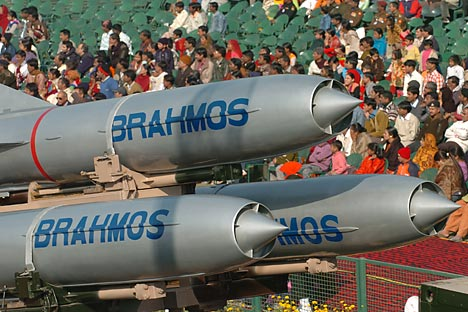 The BrahMos supersonic cruise missile, a precision-strike weapon with a range of around 290 km. Source: Reuters / Vostok-Photo