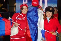 Tatiana and her friend Ina cheer the Russian team during the 2011 Rugby World Cup, at the Russian Club in Auckland