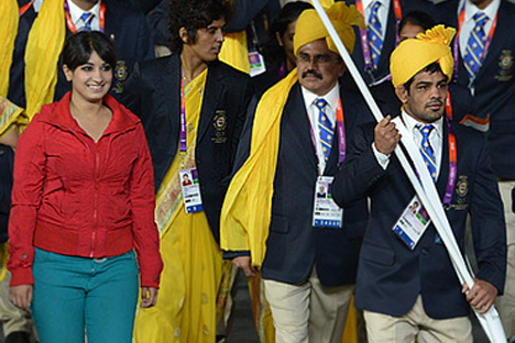 India's Olympic team during the opening ceremony. Source: AFP