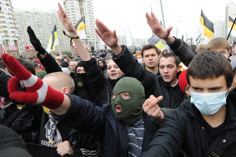 Russia's authorities became very concerned about ethnic conflicts after mass fights sparked in the country's different regions. Pictured: Participants of the Russian March rally held to mark up the National Unity Day in Moscow's Lyublino district. So