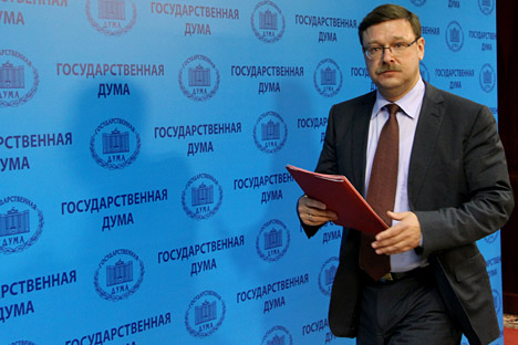 "Konstantin Kosachev: ""Russia is relatively on a par with its major geopolitical rivals, as far as ""hard power"" is concerned. As for ""soft power"", unfortunately, I believe this parity has been significantly impaired."" Source: RIA Novosti / Vladimir Fe"
