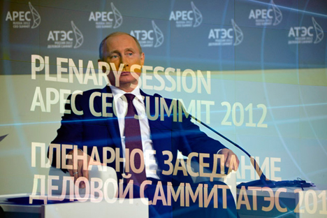 President of Russia Vladimir Putin at the 2012 Asia Pacific Economic Cooperation (APEC) summit, Vladivostok, Russia. Source: ITAR-TASS