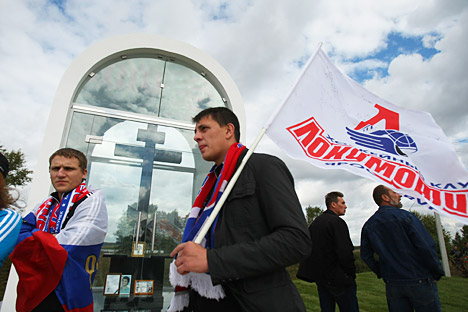 The renewed Lokomotiv team that will participate in the 2012/2013 KHL season was ceremoniously presented to fans in Yaroslavl's Ice Palace Arena 2000, earlier in September. Source: ITAR-TASS