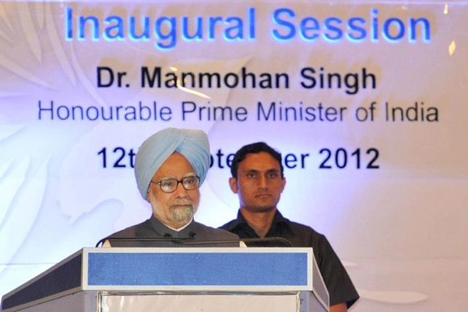 The Prime Minister, Dr. Manmohan Singh delivering the inaugural address at the 'Emerging Kerala-2012–Global Connect'. Source: Press Photo