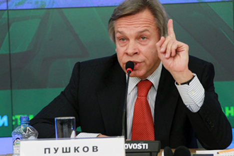 """Russia should remain an independent power center,"" Alexey Pushkov, Foreign Affairs Committee chairman of the Duma, told a press conference this week. ""In fact, the international situation predetermines our choice."" Source: RIA Novosti/Aleksandr Natr"