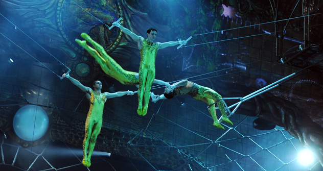Canadian Cirque du Soleil artists rehearsing a show at the State Kremlin. Source: Ria Novosti