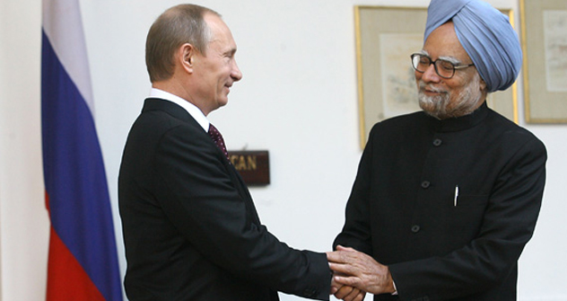 Russian President Vladimir Putin conveyed his wishes to Manmohan Singh on the occasion of the Indian Prime Minister's 80th birthday. Source: Press Photo