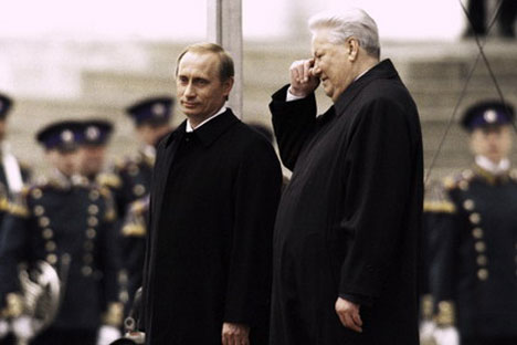 the Russian Federation's first President Boris Yeltsin and Vladimir Putin. Source: Press Photo