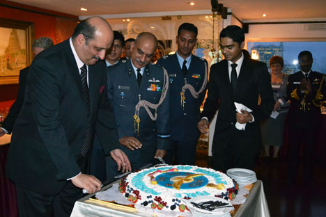 Ambassador Ajai Malhotra warmly congratulated the Indian Air Force personnel and lauded their commendable service in ensuring the safety and security of India. Source: Press Photo