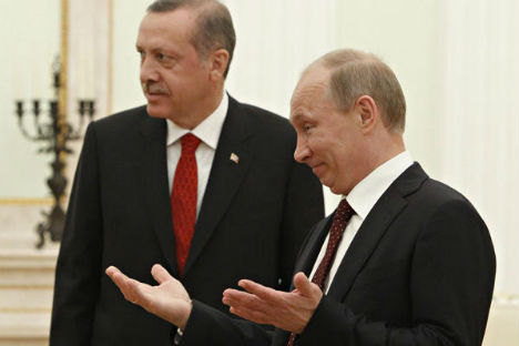 Russian President Vladimir Putin (right) meets with Turkish Prime Minister Recep Tayyip Erdogan. Source: Sergei Karpukhin/AP