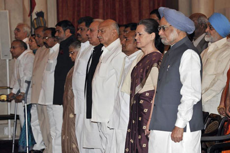 The reshuffle of the Indian council of ministers on Sunday all but appears to be a case of 'old wine in new bottle'. Source: Press Photo