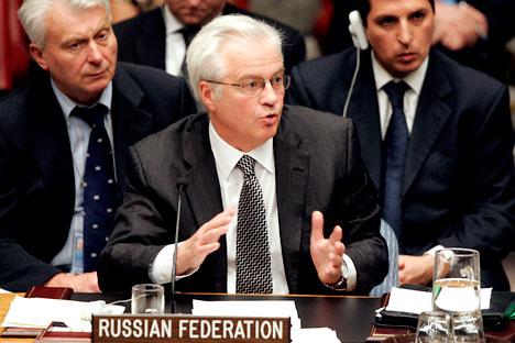 Russia's UN Ambassador Vitaly Churkin. Source: AP