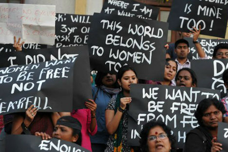 The protest in New Delhi against a brutal gang-rape of a 23-year old a week ago. Source: AFP/ East News