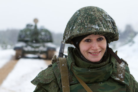 Russia's Armed Forces counted almost 50,000 women in their ranks and approximately the same number in civilian positions in 2012. Source: RIA Novosti / Oleg Zoloto