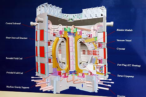 The model of the the international Thermonuclear Experimental Reactor (ITER) is photographed at the Nuclear Energy Center (CEN) of Cadarache near Aix-en-Provence, southern France, Tuesday, June 28, 2005. A six-party consortium on Tuesday chose France as the site for ITER, overcoming a longtime deadlock and opening the way for development of a potential source of clean, inexhaustible energy. Source: AP