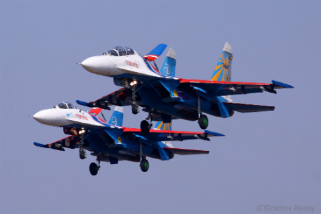 Russian aerobatics groups Russkie vityazi. Source: Flickr/B737NG