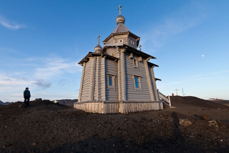 Bellingshausen Station is a location of Trinity Church, the only permanently staffed Eastern Orthodox church in Antarctica. Source: Dmitry Malov