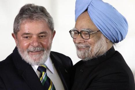 Luiz Inacio Lula da Silva and Manmohan Singh. Source: Reuters