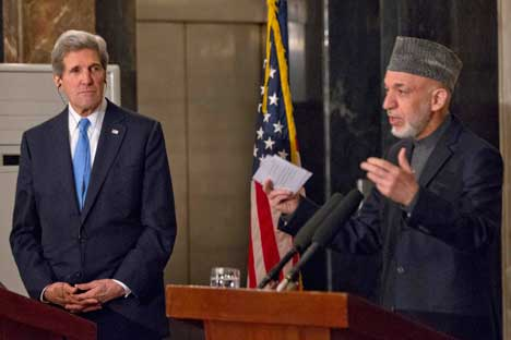 US Secretary of State John Kerry and Afghan President Hamid Karzai. Source: Reuters