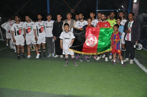 A team of Soviet Army veterans of the 1979-89 war in Afghanistan met Afghan soccer teams that also included former mujahedin fighters. Source: Asghar Noor Mohammed