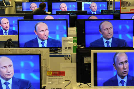 Televisions in a Moscow department store showing Vladimir Putin's televised session: He discusses a range of domestic and international problems, including international terrorism, corruption and the plight of opposition. Source: AFP / East News