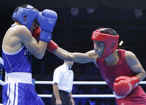 Shiva Thapa of India (R) vs. Oscar Valdez Fierro of Mexico at the London 2012 Olympic Games. Source: Reuters